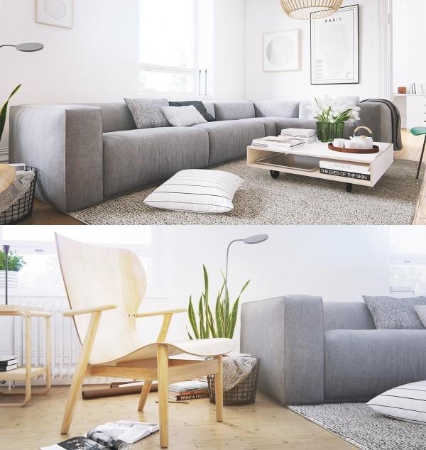 Thiết kế phòng khách hiện đại với nội thất tối giản
