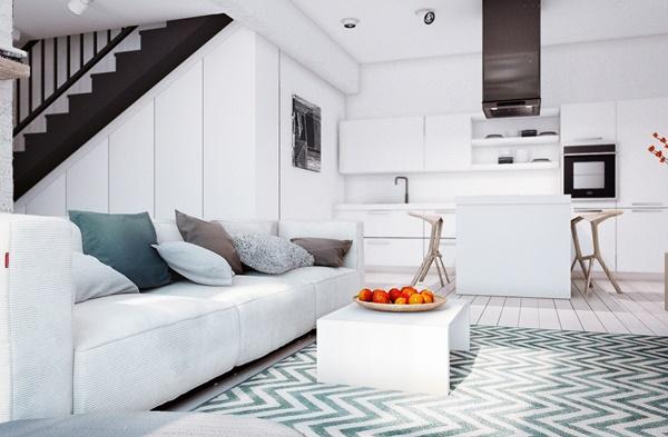 Ấn tượng thiết kế nội thất căn hộ màu tuyết xinh đẹp