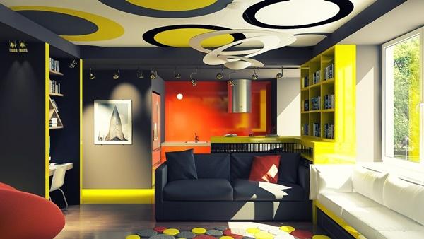 Màu sắc sống động trong thiết kế nội thất chung cư 45m2