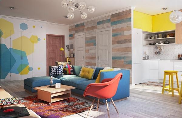 Thiết kế nội thất chung cư 80m2 sống động và ấm áp