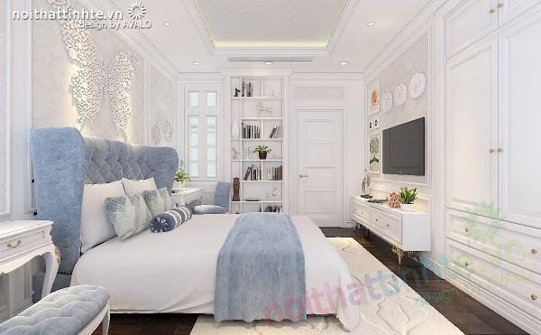 Phòng Ngủ Tân Cổ Điển màu Xanh Lơ Cyan AvaloN-1