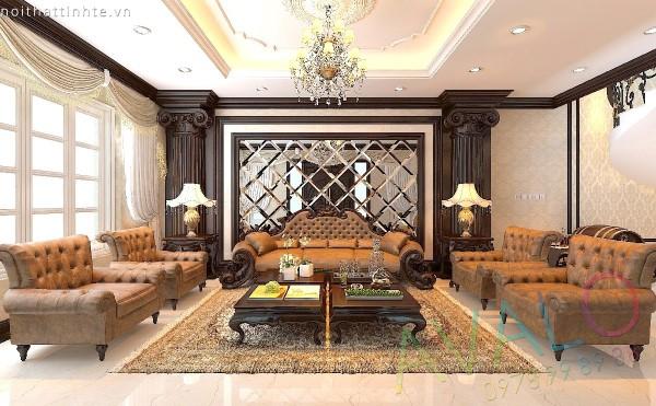 Thiết kế phòng khách Tân Cổ Điển Thuần Gỗ Việt AvaloK-3