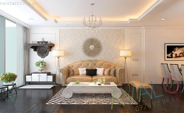 Mẫu phòng khách đẹp Tân Cổ Điển AvaloK-1