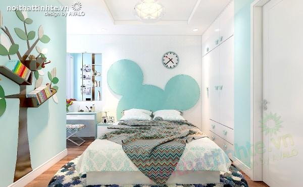 Phòng ngủ trẻ em mát mắt với màu Xanh lơ