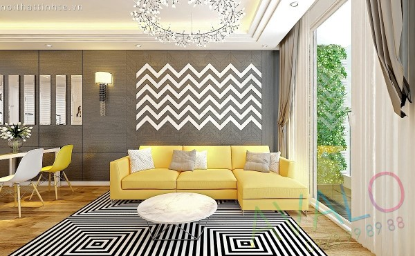 Thiết kế nội thất căn hộ Golden West 96m2 với tông vàng chủ đạo