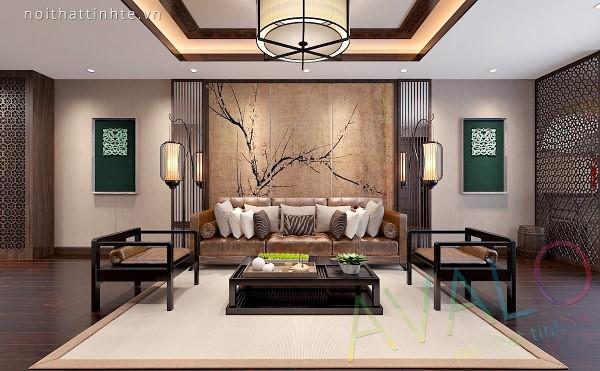 Thiết kế nội thất chung cư đẹp Á Đông Gỗ Thịt