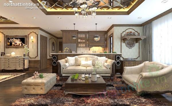 Thiết kế nội thất chung cư Hapulico gỗ tự nhiên