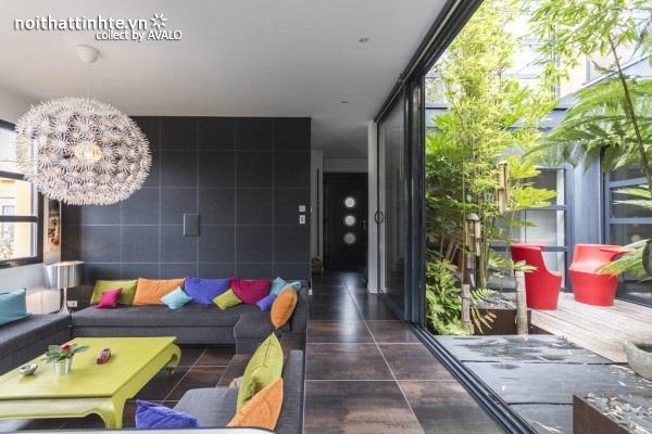 Thiết kế biệt thự đẹp phong cách đương đại với màu sắc sặc sở