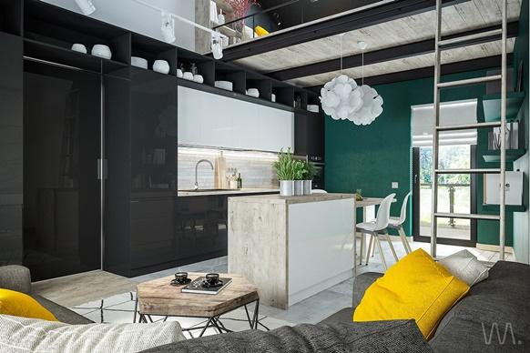 Phòng khách mở kết hợp phòng ăn hiện đại