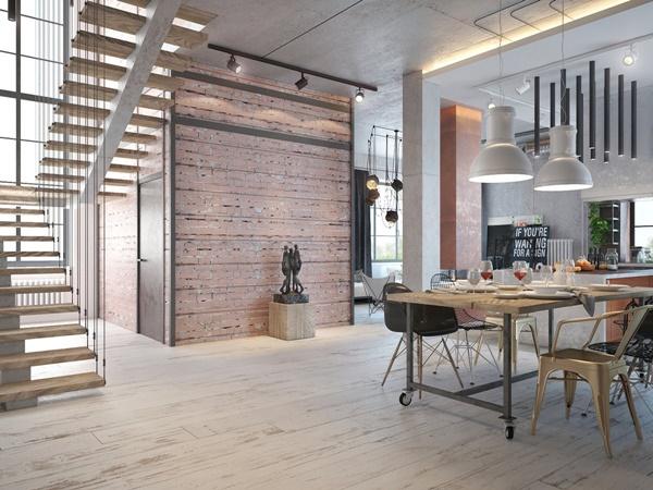 Thiết kế căn hộ công nghiệp với bảng màu ấm áp
