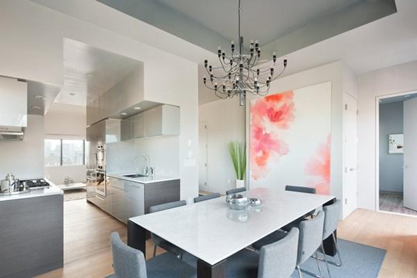 Nội thất căn hộ tối giản với gam màu trắng nhẹ nhàng