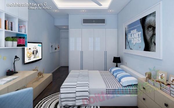 Khâm Thiên phòng ngủ con trai màu xanh