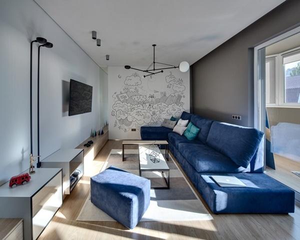 Thiết kế nội thất rộng rãi và tiện nghi của chung cư 75m2