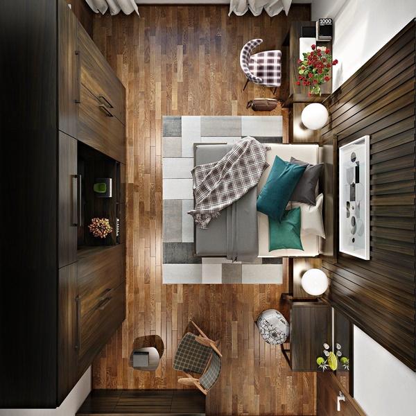 Mẫu nội thất phòng ngủ đẹp mê ly với trang trí tường gỗ