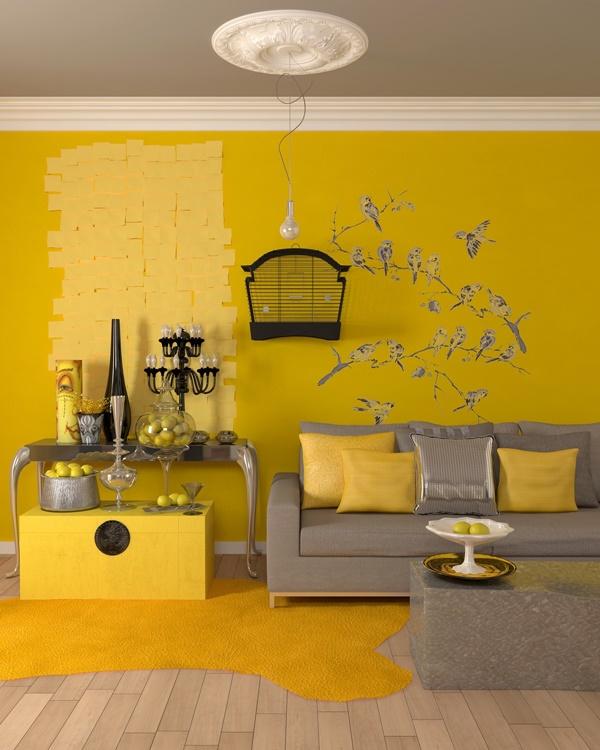 Mẫu phòng khách đẹp với điểm nhấn màu vàng