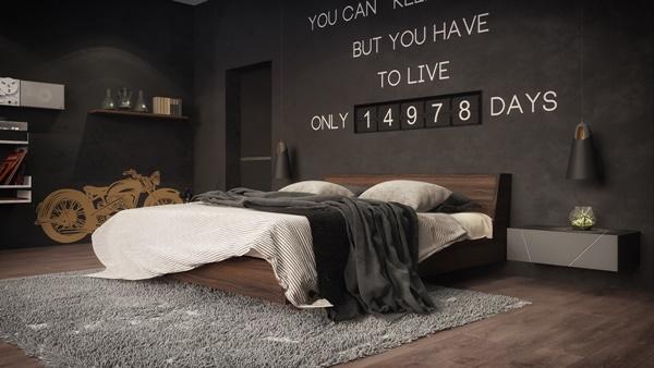 Thiết kế tinh tế quyến rũ của mẫu phòng ngủ tối màu