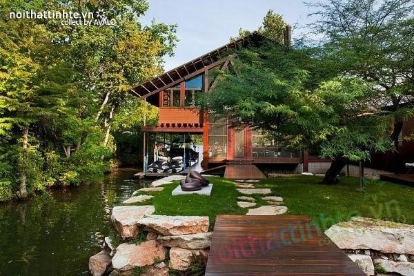 Ngôi nhà vườn đẹp The Lake Austin với cảnh quan độc đáo
