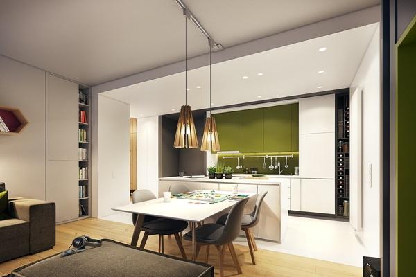 Nội thất chung cư hiện đại với màu nhấn trẻ trung