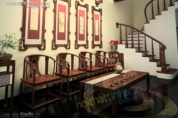 Thiết kế phòng khách Á Đông - chú Huyền PCV Phùng Khoang