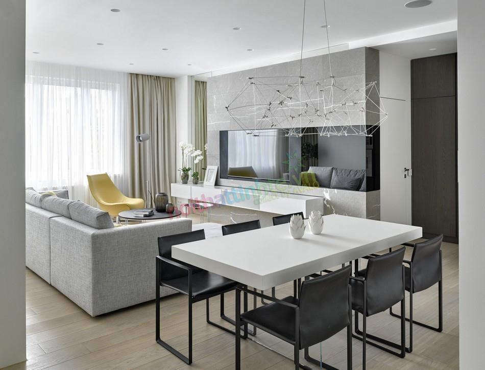 Thiết kế nội thất căn hộ hiện đại tầng 18 Moscow Skyscraper