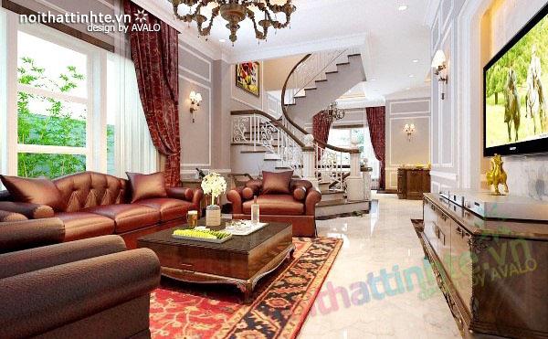 Thiết kế biệt thự đẹp 2 tầng với tông màu đỏ mạnh mẽ