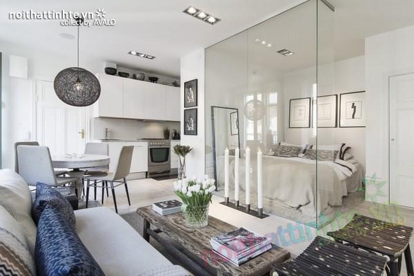 Thiết kế chung cư đẹp tại Thụy Điển nổi bật với vách kính