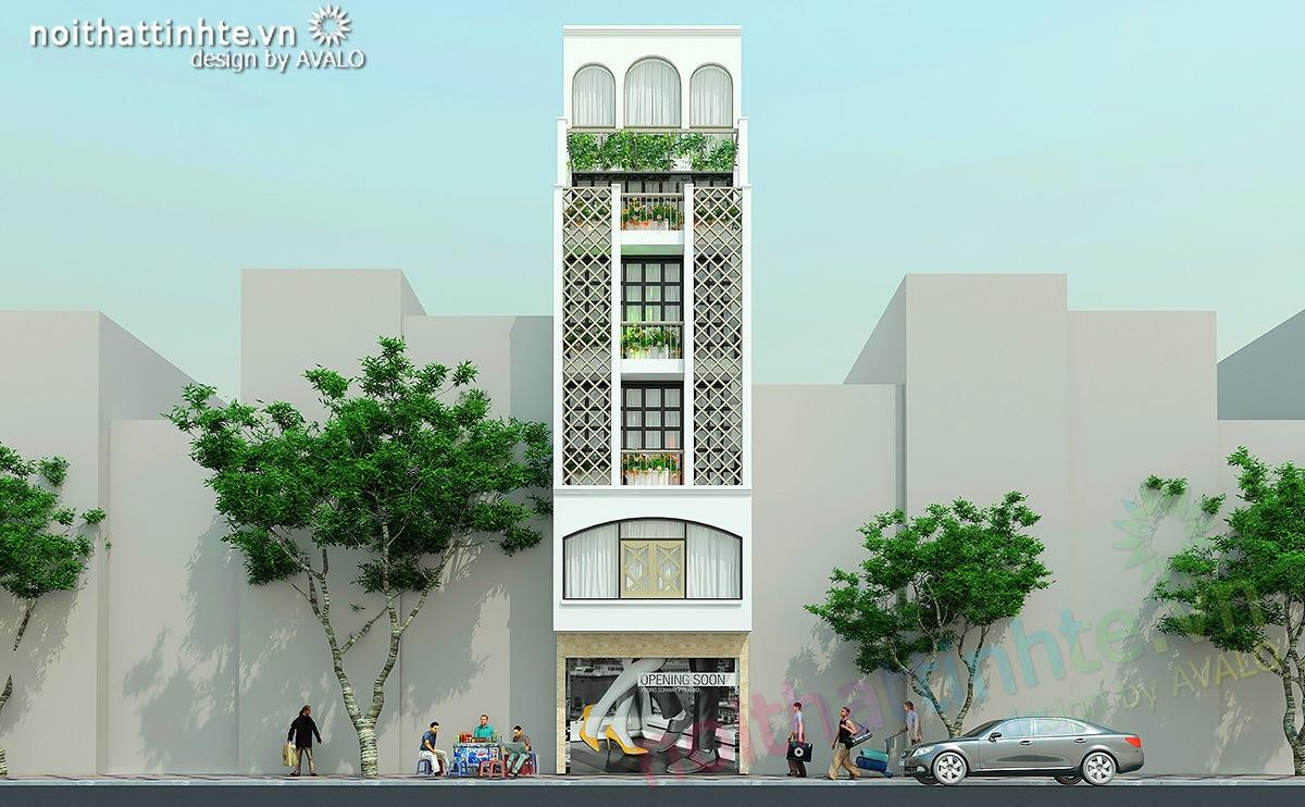 Thiết kế mặt tiền nhà phố đương đại đẹp