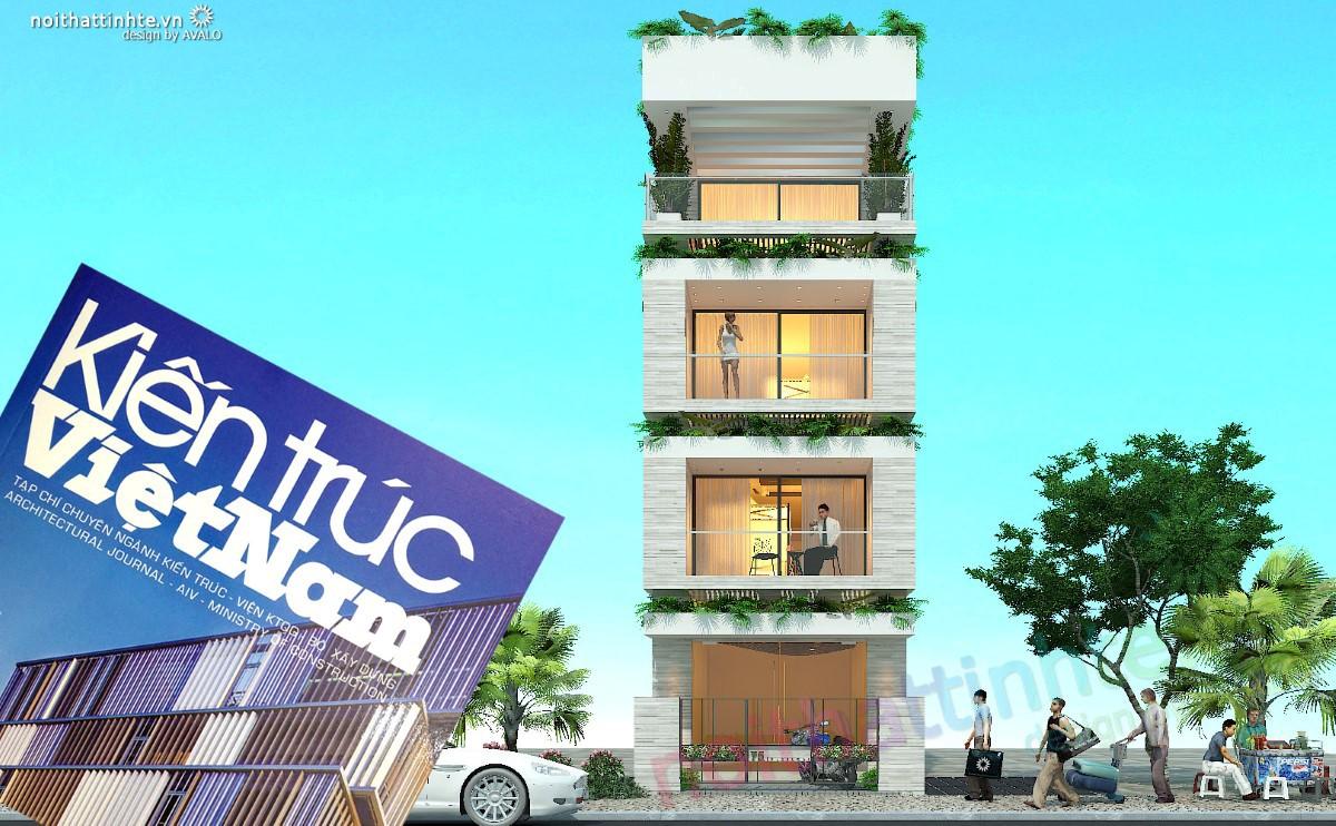 Thiết kế mặt tiền xanh của nhà lô phố với ý tưởng cây trên lô gia