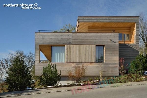 Thiết kế nhà đẹp 2 tầng trên sườn dốc ở Thụy Sỹ