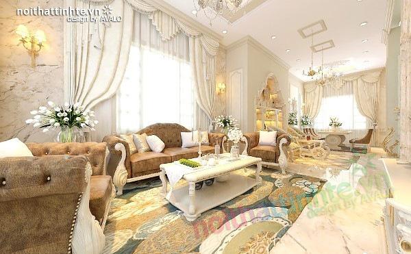 Thiết kế nội thất biệt thự Hoàng gia Châu Âu