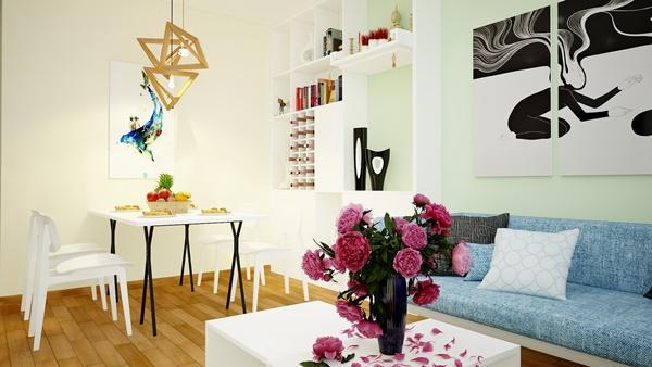 Thiết kế nội thất căn hộ nhiều màu sắc cho gia đình