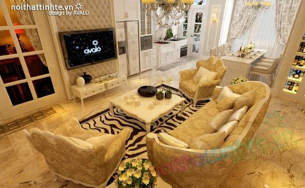 Thiết kế nội thất chung cư cổ điển nhà anh Dương