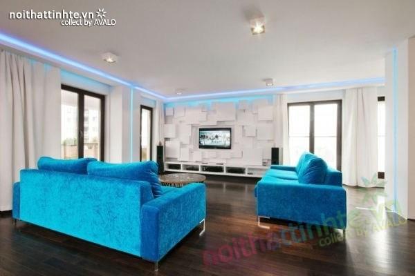 Thiết kế nội thất chung cư với màu sắc tương phản