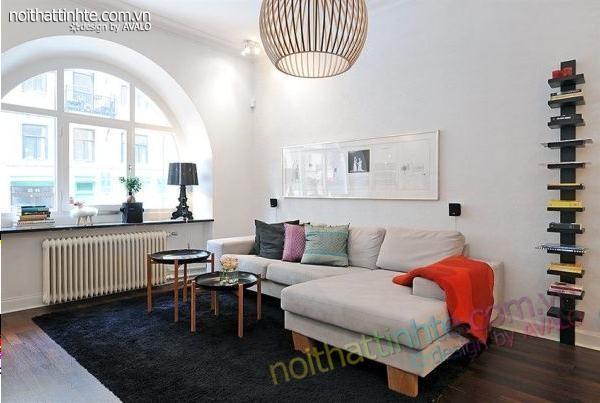 Thiết kế nội thất đẹp căn hộ chung cư chỉ 50m2 và 2 phòng