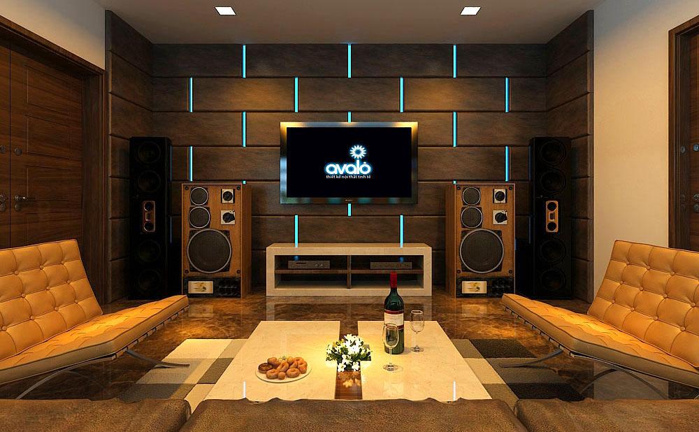 Thiết kế nội thất phòng khách đẹp kết hợp phòng nghe nhạc