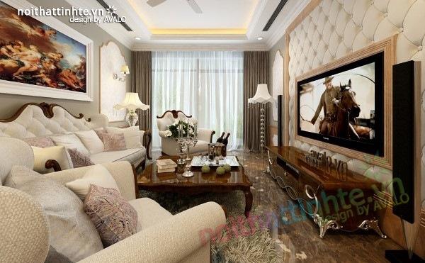 Thiết kế nội thất phòng Khách sang trọng ở Royal city
