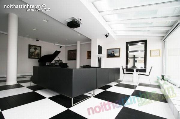 Thiết kế nội thất văn phòng màu đen và trắng
