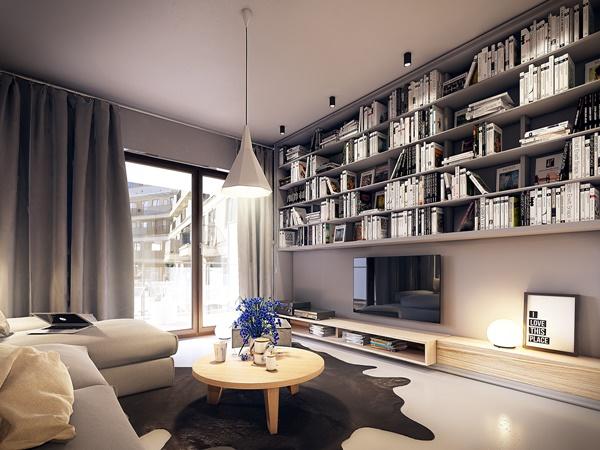 Thiết kế phòng khách chung cư ấn tượng trong căn hộ hiện đại