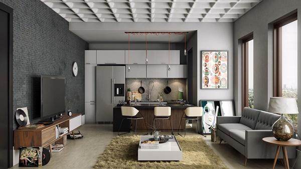 Mẫu thiết kế phòng khách mở hiện đại