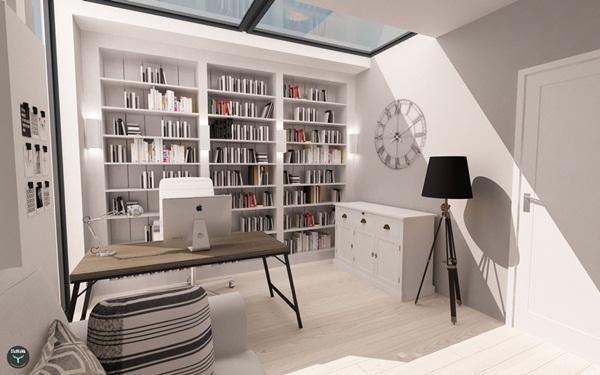 Thiết kế nội thất phòng ngủ 30m2 có thư viện cực chất