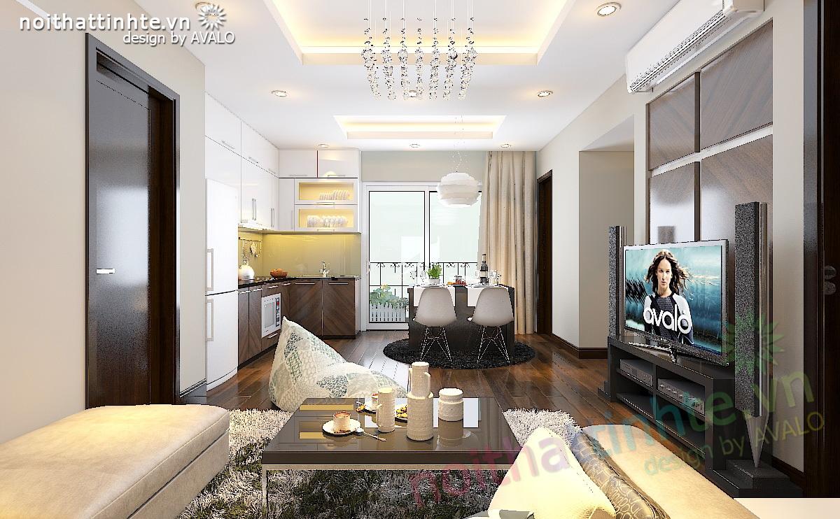Thiết kế chung cư trẻ trung 80m2 Westa – anh Hạnh