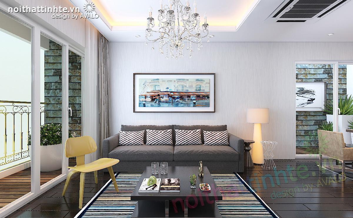 Thiet ke noi that chung cu cao cap Hoa Binh Green City A1 - chi Tinh