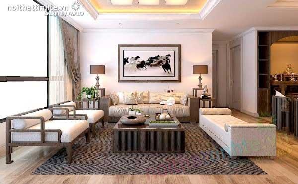 Thiết kế nội thất phòng khách chung cư đẹp - Hyundai Hillstate