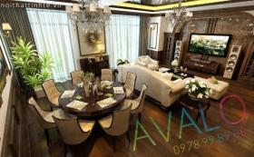 Phong khach Tan Co Dien Thuan Go Viet AvaloK-5