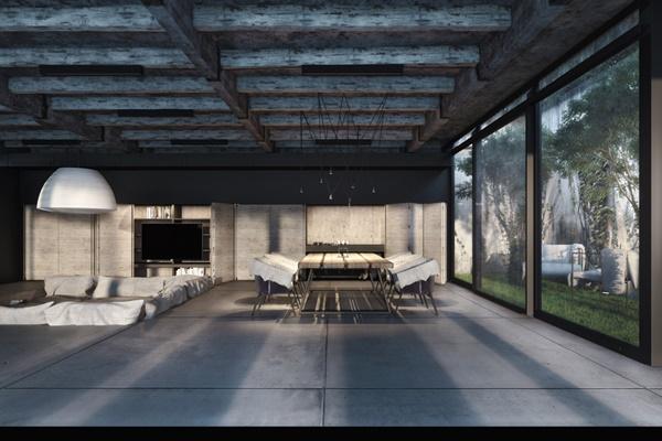 Trang trí bê tông cho phòng khách hiện đại