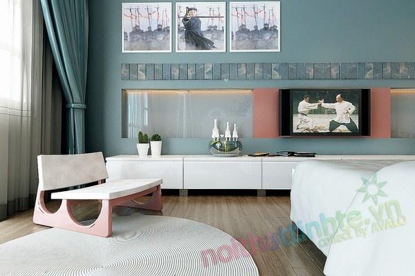 Trang trí nội thất phòng ngủ con trai chú Huyền