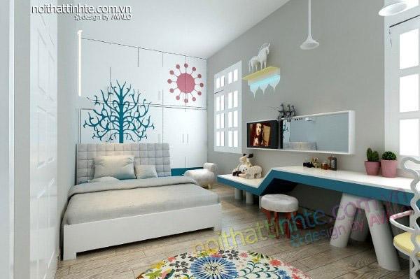 Trang trí phòng ngủ con gái với tông màu trắng