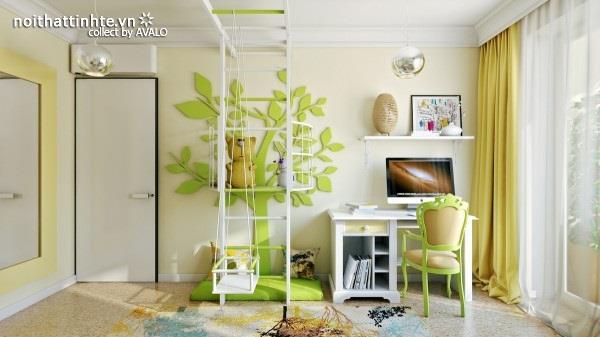 Trang trí phòng ngủ trẻ em với màu sắc đầy tươi sáng