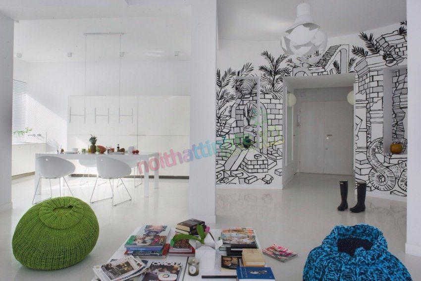 Nghệ thuật sử dụng tranh tường trong thiết kế nội thất căn hộ chung cư của nghệ sĩ đồ họa