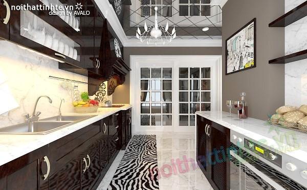 Thiết kế nội thất nhà Bếp Royal city anh Quang 04